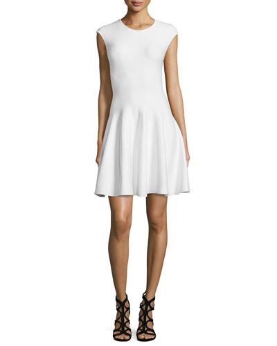 RVN Cap-Sleeve Fit & Flare Dress