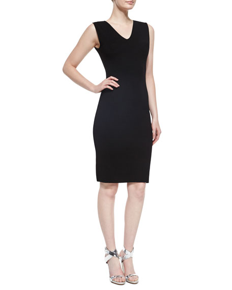 RVN Sleeveless V-Neck Sheath Dress, Black