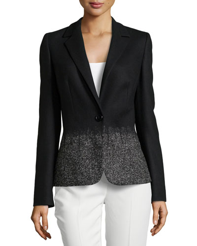 Ombre Long-Sleeve Jacket, Black