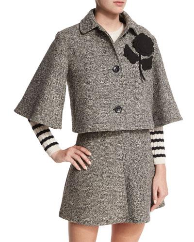 Tweed Cropped Jacket with Flower Detail