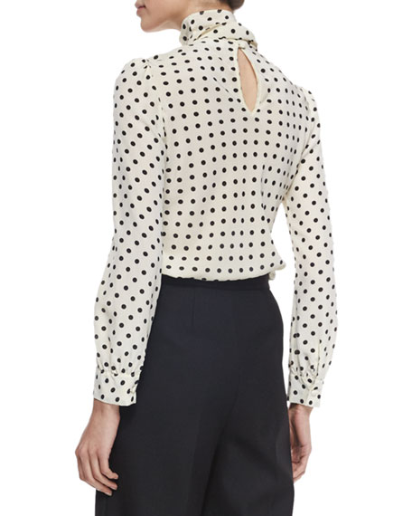 Polka Dot Silk Crepe de Chine Blouse
