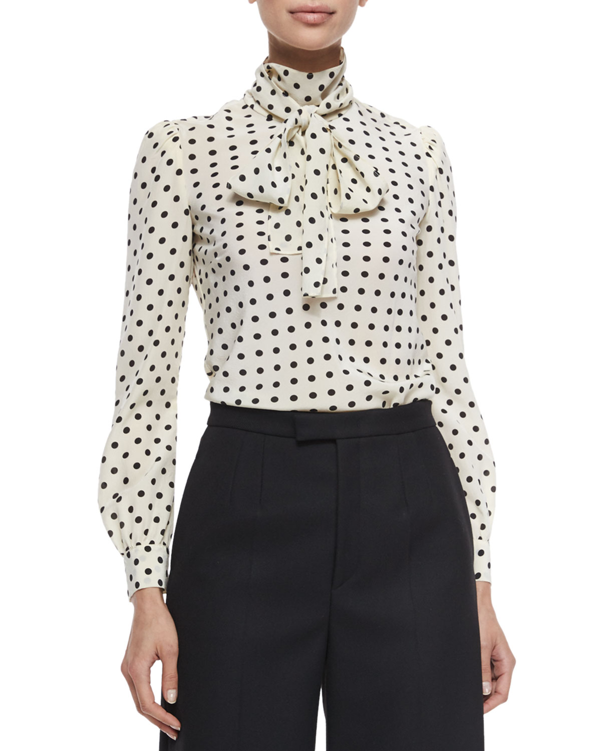 a23b86f3be666 RED Valentino Polka Dot Silk Crepe de Chine Blouse