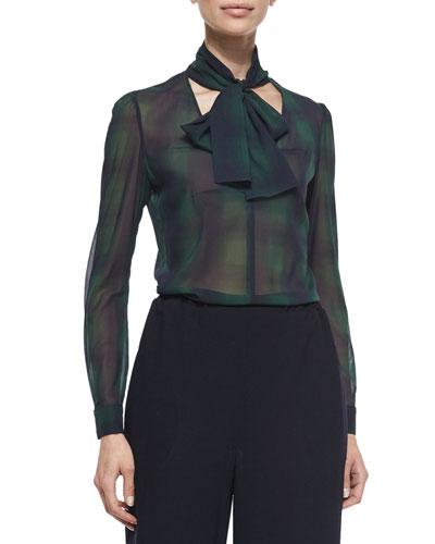 Tie-Neck Silk Plaid Crepe de Chine Shirt
