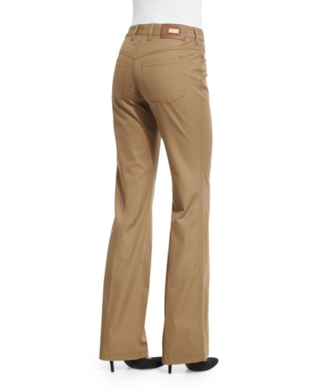 Mid-Rise Straight-Leg Trousers, Antique Gold