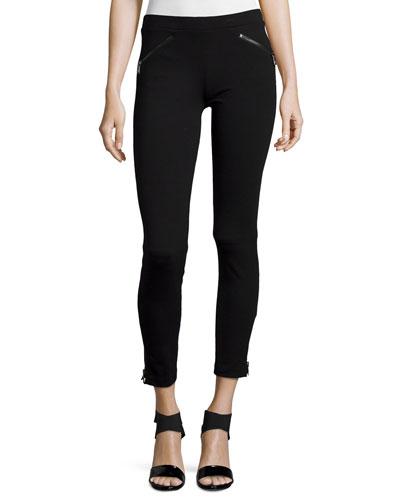 Ponte Cropped Leggings w/Zipper Details, Black