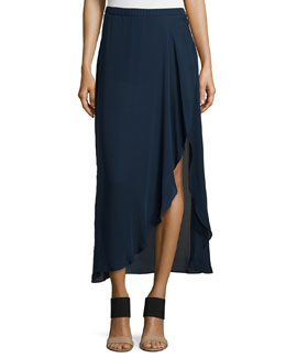 Asymmetric Ruffle Skirt with Shorts, Prussian Blue