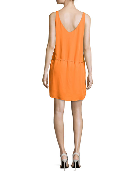 haute hippie v neck sleeveless dress with belt orange peel