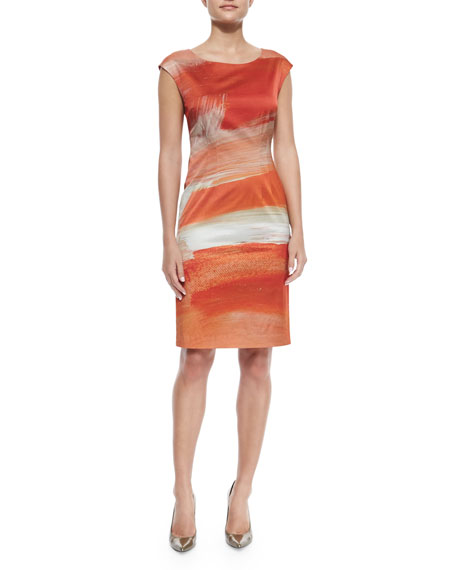 Lafayette 148 New York Cap-Sleeve Printed Sheath Dress