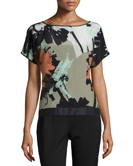 Lafayette 148 New York Contessa Short-Sleeve Printed Silk
