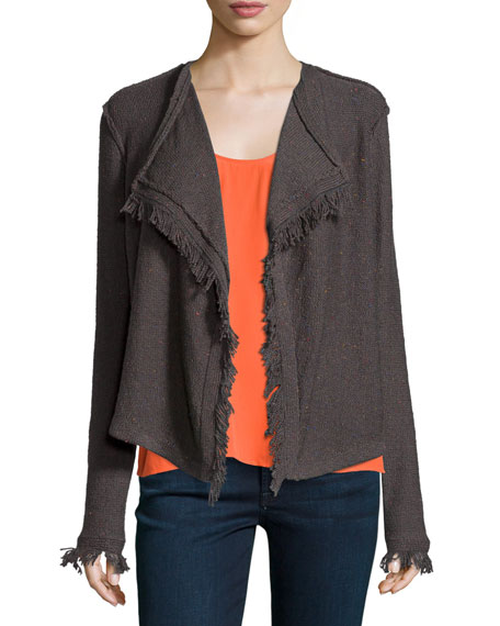 Joie Nalah B Boucle Knit Jacket, Charcoal