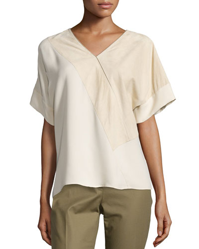 Dionna Short-Sleeve Leather & Silk Blouse