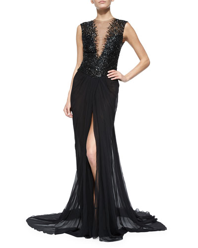 Embroidered Silk Illusion Gown