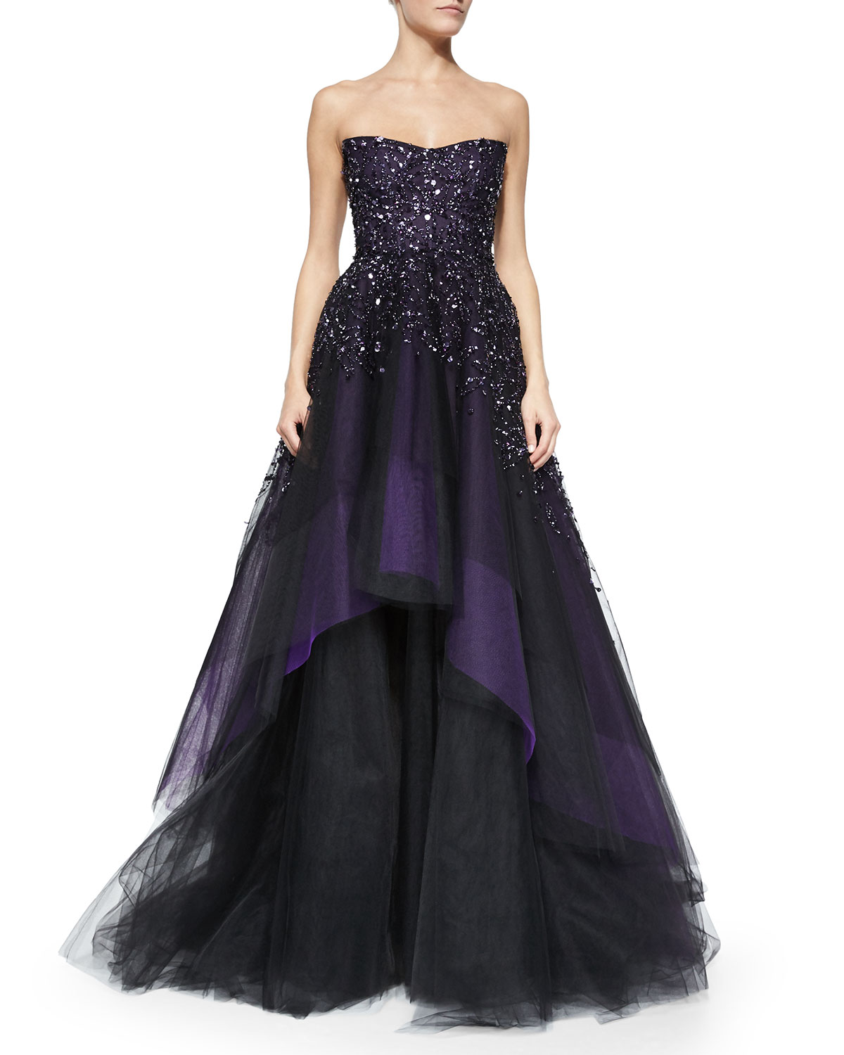 Monique Lhuillier Strapless Degrade Embroidered Ball Gown, Plum ...