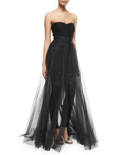 Strapless Jumpsuit W/Removable Skirt, Noir