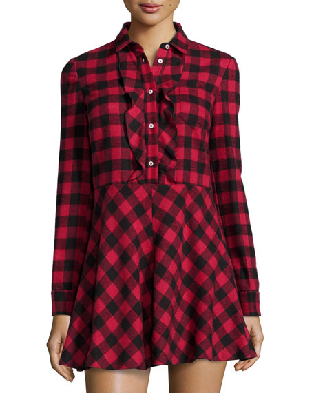 Long-Sleeve Fit & Flare Plaid Shirtdress
