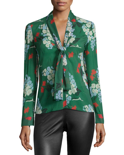 Bouquet Tie-Neck Floral-Print Blouse