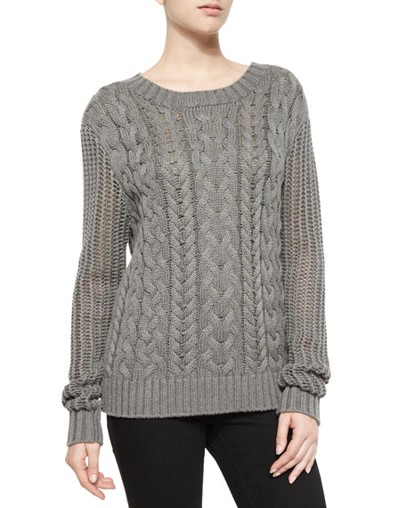 FRAME Cable-Knit Pullover Sweater, Charcoal