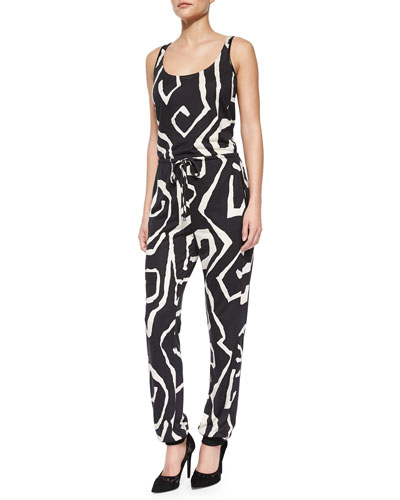 Sophie Twirl-Print Tapered Jumpsuit, Black Multi