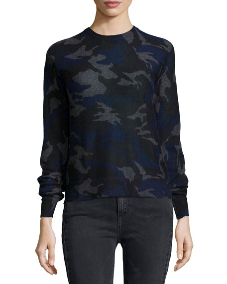 Zadig & Voltaire Cashmere Camouflage-Print Pullover Sweater,