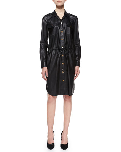 Piper Leather Drawstring Shirtdress