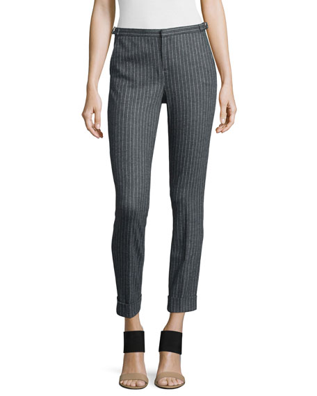 ATMAdjustable Pinstripe Cropped Dress Pants