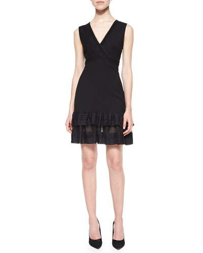 Rayon Ruffle-Hem Surplice Dress