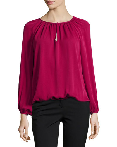 Hathaway Long-Sleeve Silk Blouse, Raspberry Coulis