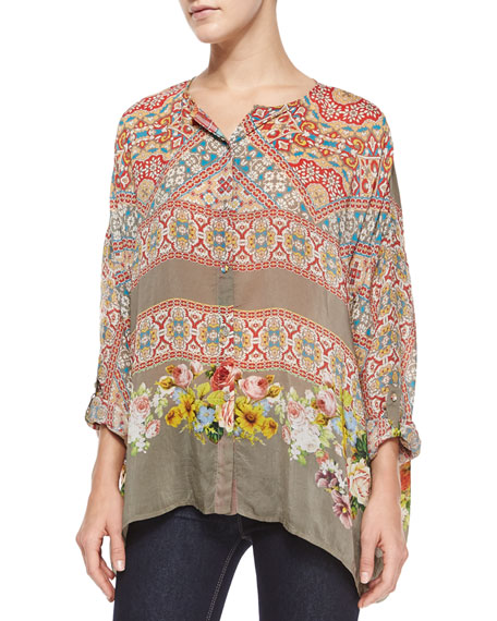 Johnny Was Collection Blooming Printed Long-Sleeve Blouse,