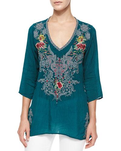 Mendi V-Neck 3/4-Sleeve Embroidered Tunic, Women's