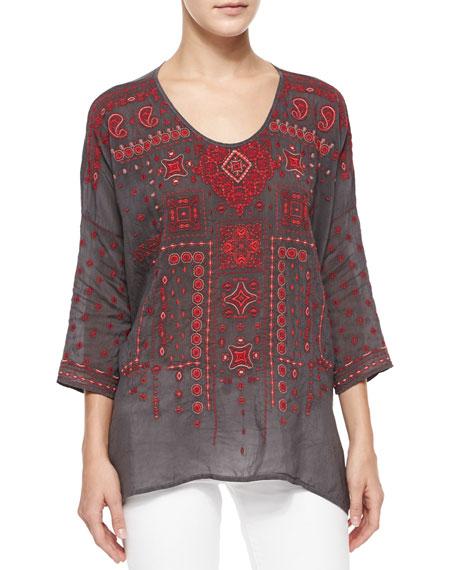 Amaru 3/4-Sleeve Embroidered Blouse