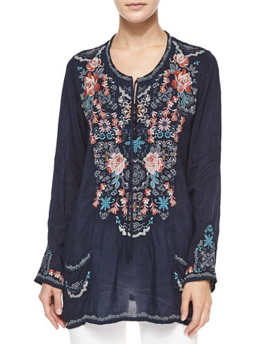 Long-Sleeve Mosaic Tile Blouse