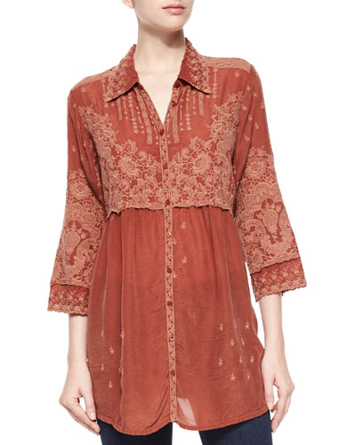 Austin 3/4-Sleeve Empire-Waist Embroidered Blouse, Women