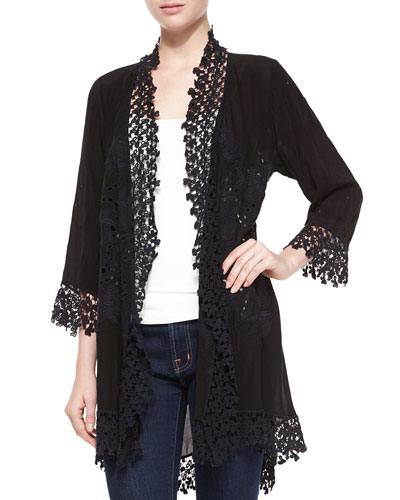 Blossom Crochet-Trim Georgette Jacket, Women