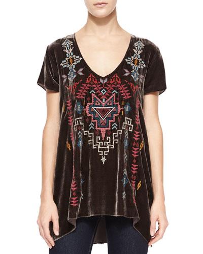 Tisha Short-Sleeve Embroidered Velvet Top, Women's