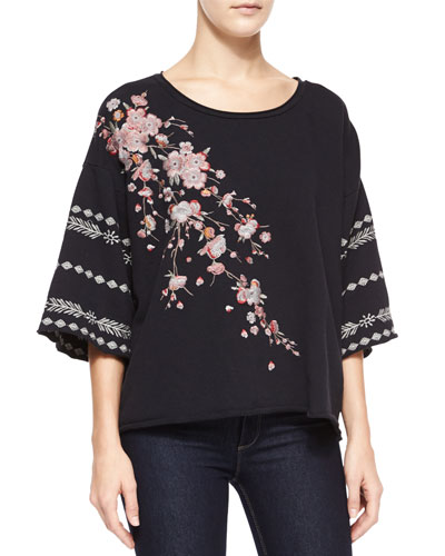 Noriko Half-Sleeve Cherry Blossom Embroidered Sweatshirt, Women