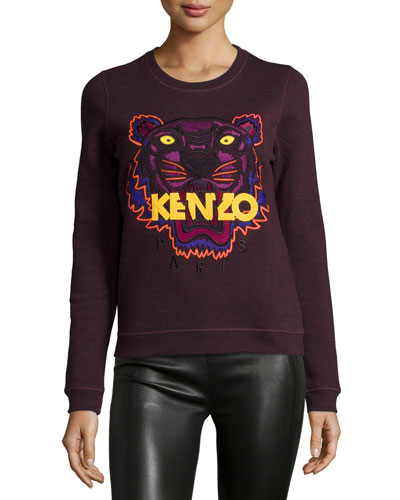 Icon Tiger-Embroidered Sweatshirt, Anthracite