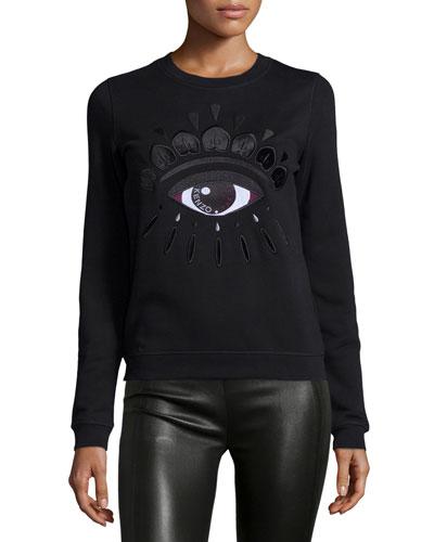 Icon Eye-Embroidered Sweatshirt, Black