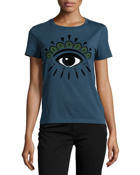 Kenzo Icon Eye-Print Short Sleeve T-Shirt, Peacock
