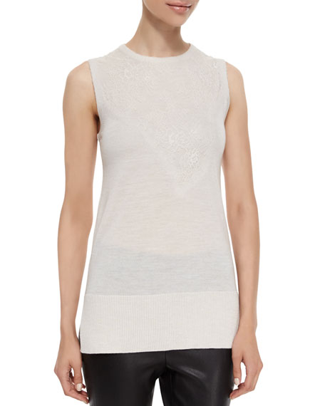 Rag & Bone Carolyn Sleeveless Lace-Inset Knit Top