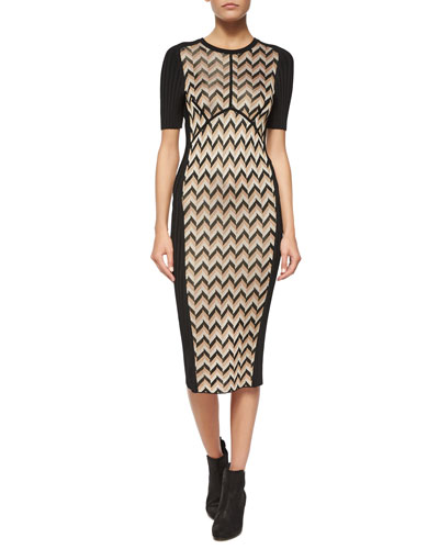 Elaine Solid/Printed Knit Sheath Dress