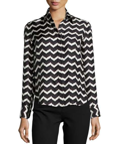 Rag & Bone Faye Chevron-Print Silk Skirt
