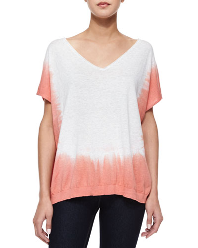 Short-Sleeve Dip-Dye Tunic, Heather Gray/Sunrise
