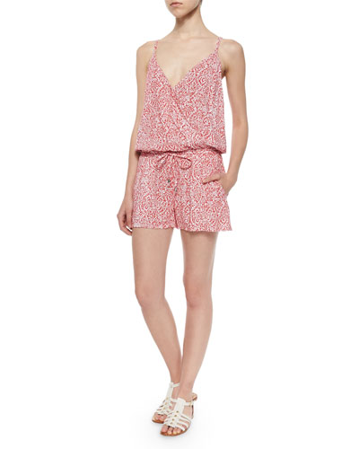 Sleeveless Short Paisley Romper, Bonfire