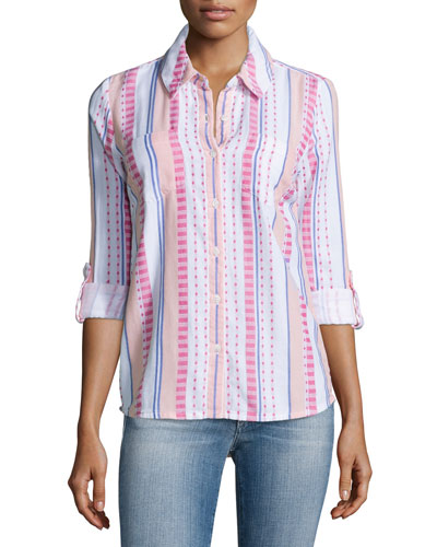 Henley Mixed-Stripe Cotton Blouse