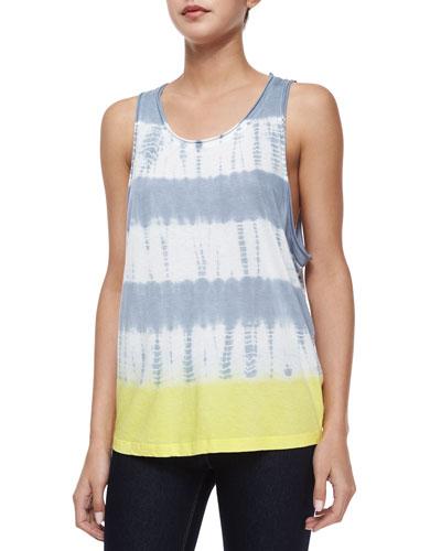 Tie-Dye Linen Tank, Gray Mist/Lemoncello