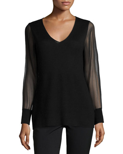 Cashmere Sheer-Sleeve V-Neck Top