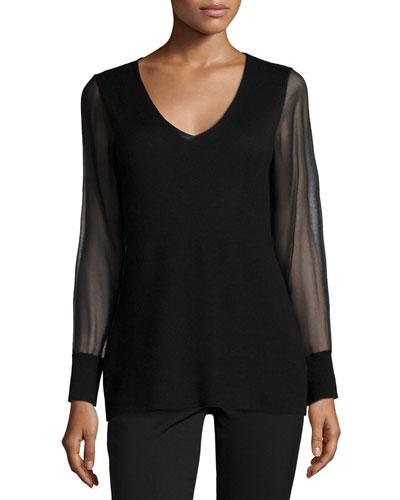 Cashmere Sheer-Sleeve V-Neck Top