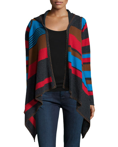 Hooded Striped Cashmere Cardigan