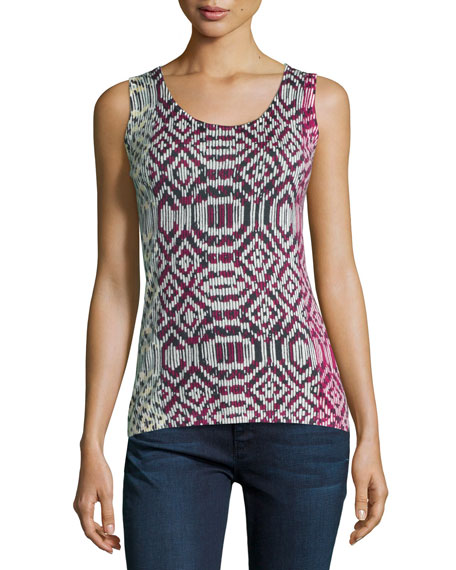 Neiman Marcus Cashmere Collection Tribal-Print Cashmere Tank