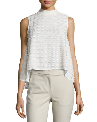 Sleeveless Textured Blouse, Cream